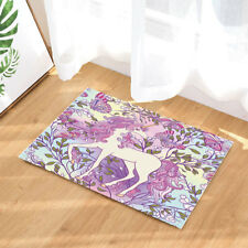Colorful Unicorn and Butterfly Non Slip Flannel Rug Warm Carpet Bath Door Mat