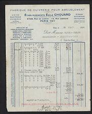 """PARIS (X°) USINE de CUIVRERIE pour ameublement """"Emile CHOUARD"""" en 1934"""