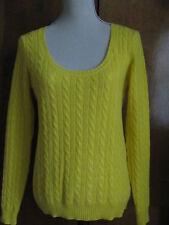 Aqua Women's Yellow Cashmere Detailed  Sweater Size Medium NWT