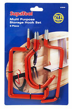 Set of 6 Multi-purpose Storage Hooks - Ideal for garage and shed tools