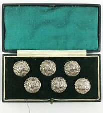 Antique Cased Set Of Six Hallmarked Silver Buttons By Levi And Salaman 1900