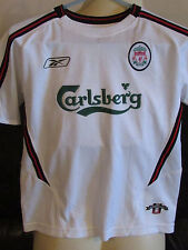 "Liverpool FC White Away Shirt - 2003/04 - 28""-30"" - Dynamite 10 on back"