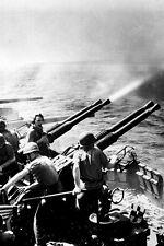 New 5x7 World War II Photo: 40mm Guns of USS HORNET Fire on Japanese