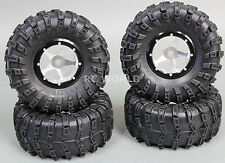 RC 1/10 Truck Wheels 2.2 ROCK CRAWLER Aluminum BEADLOCK Rims W/tires SILVER-B