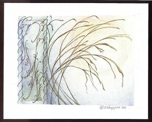 """Abstract Pencil Drawing """"Sunshine Garden"""" 10 x 8 Artist Signed Orig 2020-0018"""
