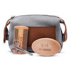 Bartpflege Set: Bartbürste, Bartkamm, Schere, Kulturbeutel, Geschenk für Männer