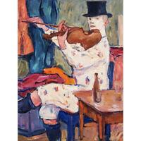 Von Hennigs Clown Playing Violin Music Painting Canvas Art Print Poster