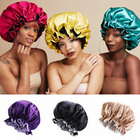 Silk Night Sleep Cap Hair Bonnet Hat Head Cover Satin Wide Band Large Jumbo Size