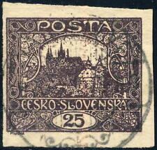 "TCHECOSLOVAQUIE / CZECHOSLOVAKIA 1920 "" VÁG SELLYE ~ C "" (ŠAĽA V.769-3) on Mi.28"