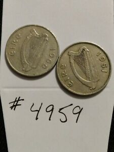 🇮🇪 Before & After Decimals Ireland 1951 1 Shilling & 1969 5 Pence Coins 🇮🇪