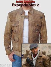 Expendables 2 Jason Statham  Handmade Genuine Goat Leather Jacket S-5XL Brown