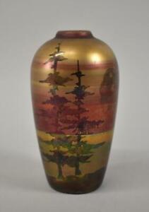 Vintage Weller Lasa Pottery Cabinet Vase Pine Trees