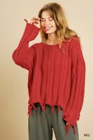 UMGEE Red Cable Knit Frayed Trim Long Sleeve Pullover Sweater
