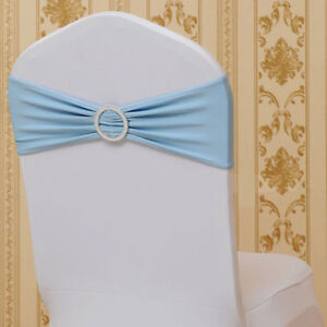 100 x Spandex Stretch Tie Chair Sash Wedding Party Cover Band Buckle Bow Slider