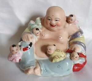 Chinese Porcelain Republic Period laughing Buddha 5 Children Red Character Mark
