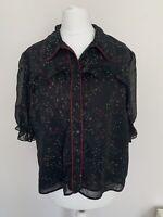 Zara Blouse Size Medium Black Floral Ruffle Detail Short Puff Sleeves
