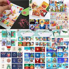 4/6/8pcs DIY Diamond Painting Birthday Greeting Cards Kit Xmas Postcards Gift UK