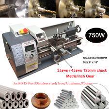 """Upgrade 750W Jade Steel Mini Metal Lathe Metric / inch Gear 8"""" X 16"""" Bench Top"""