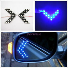 Universal 2 Pcs Double Arrows Blue Rearview Mirror Sequential Panel LED Lights