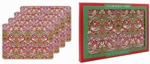New Leonardo William Morris Red Strawberry Thief Place Table Mats Set Of 4