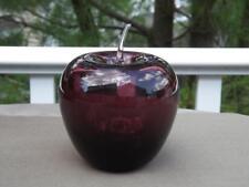 "Blenko Amethyst Purple Apple Paperweight Hand Blown Clear Stem 5"" Tall EXC"