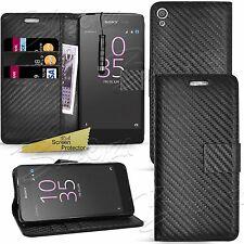 Para Sony Xperia teléfonos-Fibra De Carbono Billetera Estuche Abatible Cubierta + Protector de pantalla
