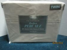 Bed Bath & Beyond 400 Thread Count Beige Percale Sheet Set Size Twin