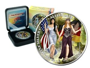 1 oz Silber 5 Mark The Allegories 2019 Columbia & Germania Mystic Forest color