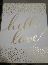 Metallic Gold And White Hello Love Wall Art Canvas Painting