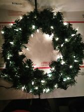 "16"" Deluxe Pine Artificial Christmas Tree Wreath Pre-lit Clear White Lights"
