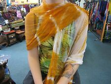 Silky Colourful Indian Thin Scarf Wrap With Beads White Base Tie Dye Mustard