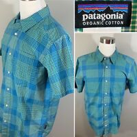 Patagonia Men's Short Sleeve Button Down Plaid Shirt sz L Organic Cotton EUC