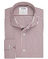 T.M.Lewin Stripe Slim Fit Burgundy Dual Cuff Shirt