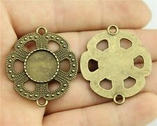 15pcs fit 14mm Cameo Cabochon Antique Bronze Round Base Setting Flower Connector