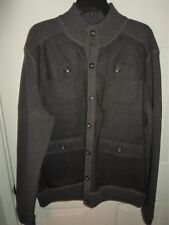 d667872cd29 BLACK BROWN 1826 Sz XL Button-Front Wool Cardigan Sweater Jacket Flaps GRAY  NWT