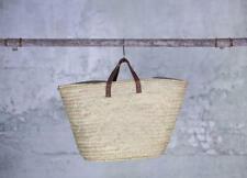 Hasani Moroccan Basket Leather Straps Beach Shopper Straw Holiday Bag Storage