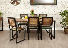 Agra reclaimed wood furniture large dining table and six chairs set