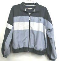 Wilson Mens Medium Blue Gray Striped Casual Full Zip Windbreaker Jacket Everyday