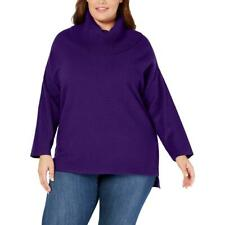 Style & Co. Womens Purple Ribbed Casual Turtleneck Sweater Top Plus 1X BHFO 1695