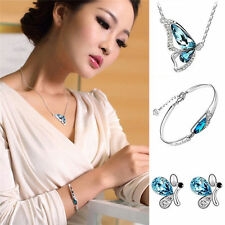 Women Wedding Jewelry Crystal Butterfly Necklace + Earring+Bracelet Set Fashion