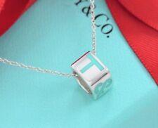 "Tiffany & Co Silver Blue Enamel T Era Cube Charm Pendant 18"" Chain Necklace"