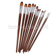 13 Pieces Filbert Tip Artist Paint Brush Set Professional Quality Art Craft