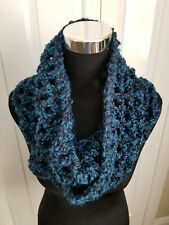 Chunky Infinity Scarf Dark Blue & Black, Soft And Cozy, Hand-crocheted Gifts