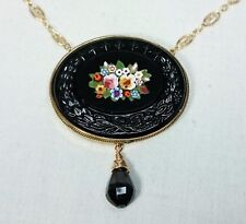 Petra Dura Micro Mosaic Italian Grand Tour Necklace, 14K Gold Filled, Spinel