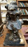 "Art Nouveau After Alfred Foretay ""Salome"" Bronze Sculpture on Marble Base"
