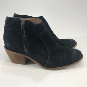 Madewell Womens Black Leather Suede Ankle Boots Side Zip Size 9