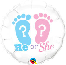 "BABY SHOWER PARTY SUPPLIES 18"" NEW BABY HE OR SHE FOOTPRINTS QUALATEX BALLOON"