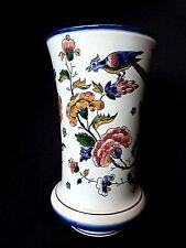 Vase ancien en faïence de Gien décor oiseau papillon fleurs 1841-1875