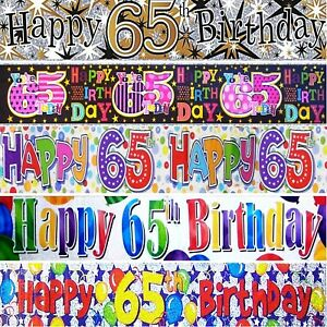 AGE 65 - 65th BIRTHDAY BANNERS - HOLOGRAPHIC - MULTI COLOURED  PARTY DECORATIONS