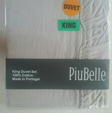 PIU BELLE Piubelle King Duvet Cover Set Gray Ruffled Portugal 3pc Cotton New